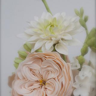 Rose David Austin y Dalia en pasta de Goma - David Austin Rose and Dahlia gumpaste
