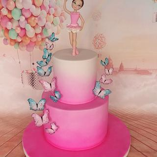 Ballerina and butterfly cake
