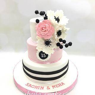 Pink and white anniversary cake