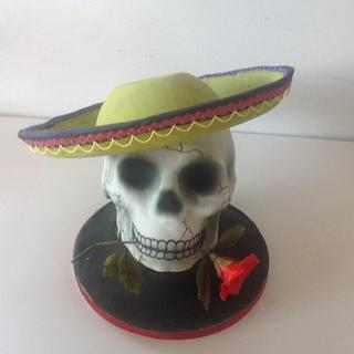 pastillage sombrero and skull celebrating day of the dead