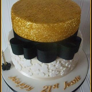 Gold and Black Sparkle Cake