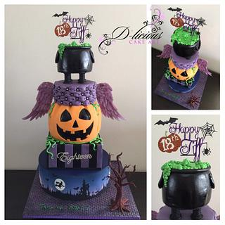 Halloween Themed 18th Cake - Cake by D-licious Cake Art