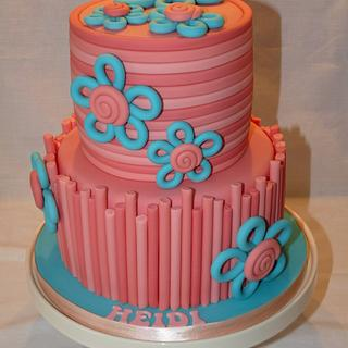 ROLLED OMBRE STYLE TWO TIERED CAKE