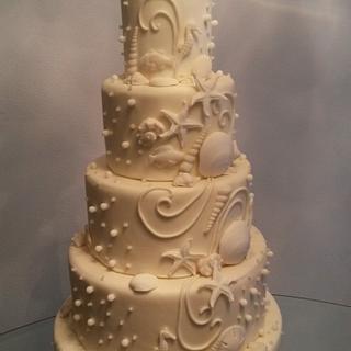 Beach theme wedding - Cake by Baked By Valeri
