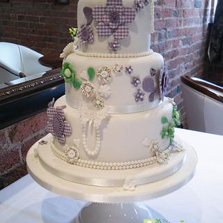 Buttons and gingham wedding cake