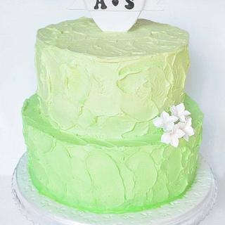 Ombre Mint Green Engagement Cake