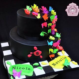Neon Butterflies Cake