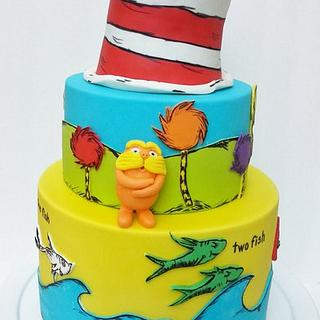 CAT IN THE HAT AND LORAX CAKE