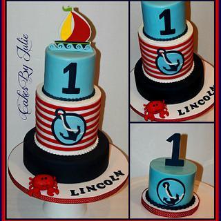 Anchors Away 1st Birthday Cake and Smash Cake