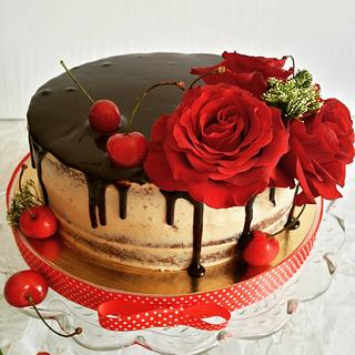 cherries and roses naked cake