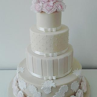 Ivory & Pale Pink - Cake by Bakeyousweet