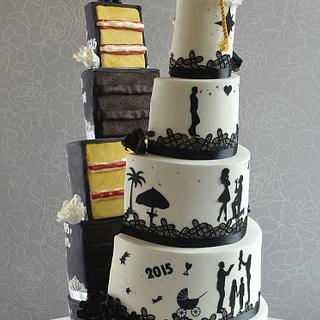 Split half and half wedding cake