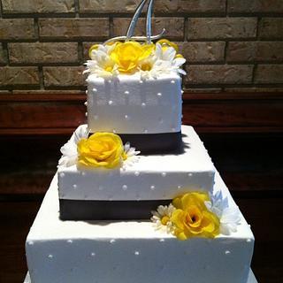 Yellow & Grey Wedding Cake