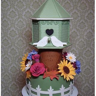 Birdhouse Fall Wedding Cake/Cupcake Tower