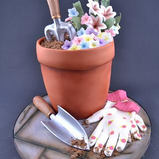Pot of love and flowers - Cake by Novel-T Cakes