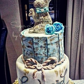 My Son's Baptism - Crackled cake