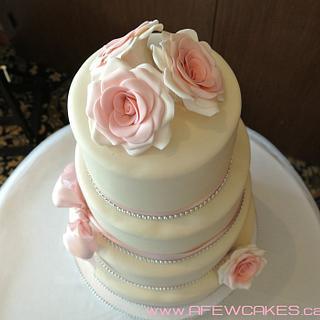 Pink/Bling Four Tiered Wedding Cake - Cake by Amanda