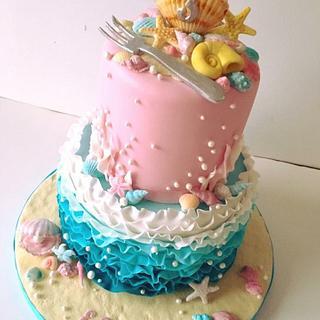 Little mermaid under the sea cake - Cake by The Rosebud Cake Company