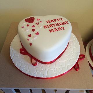 Heart shaped cake 50th birthday