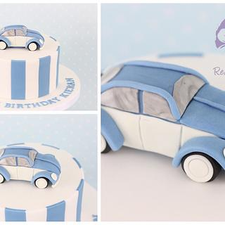 Blue and White Beetle cake
