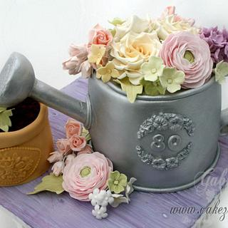 Watering Can with Sugarflowers