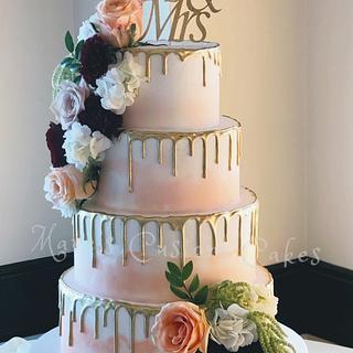 Golden Drip Wedding Cake - Cake by mareg88