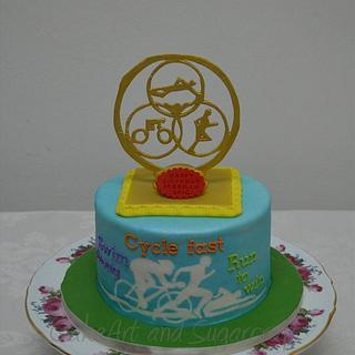 Triathalon themed cake