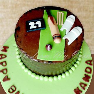 Cricket Themed Chocolate Ganache Cake!