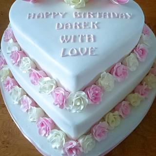 Rose and Butterfly Heart Cake