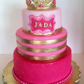 Pink  Ombré And Gold Princess Baby shower cake