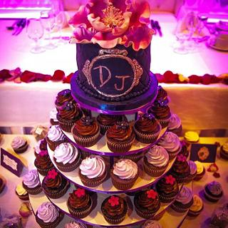 Blue purple cake and cupcakes - Cake by DIVA OF CAKE