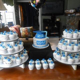 blue and white graduation cake cupcakes