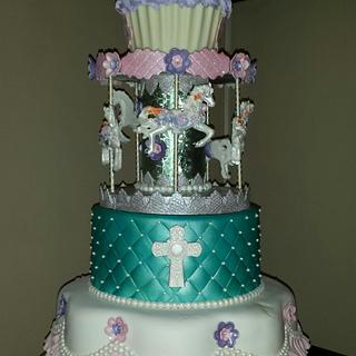 Ella's Carousel - First Birthday and Baptism Cake