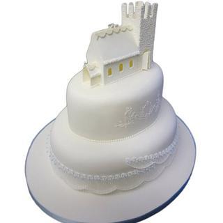 Church snow wedding cake