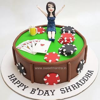 Poker, Casino theme customized cake for girls birthday