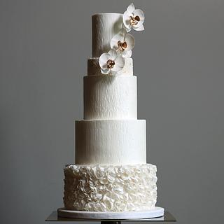 Golden Orchid Wedding Cake