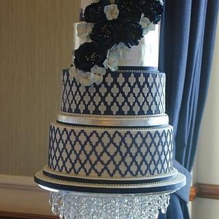 6 tier Navy blue, white and silver wedding cake