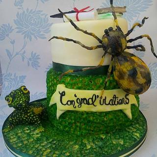 Reptile themed Graduation cake