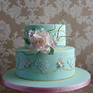 Vintage Rose and Lace 80th Birthday Cake