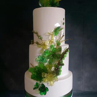 isomalt succulent wedding cake