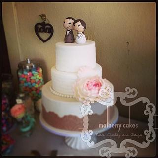 3 tier vintage wedding cake - Cake by Malberry Cakes