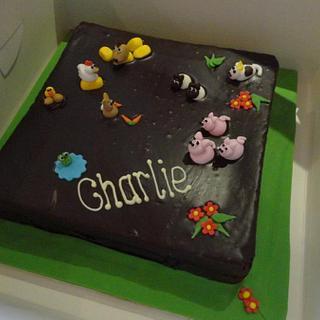Farm animal christening cake - Cake by Leah Stevenson