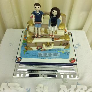 World travel wedding cake
