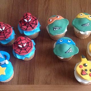 Boys character cupcakes