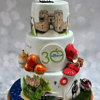 Handpainted Somerset cake for BBC Somerset 30th anniversary