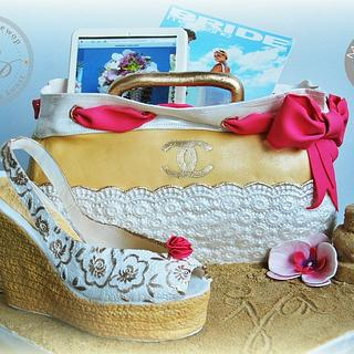 Bach Bridal wedge shoe and purse