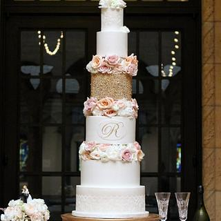 Gold, Lace and Floral Wedding Cake