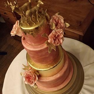 24ct Gold Leaf, Pastel Pink & Rose Wedding Cake :) x
