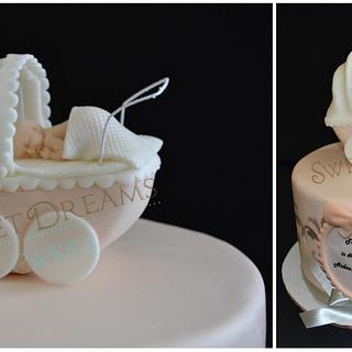 Carriage baby shower cake.