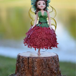 Wood Fairy on a Tree Stump